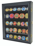 LOCKABLE 30 Military Challenge Coin Poker Chip Display Case Shadow Box, Solid Wood, COIN30-BL