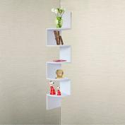 BTEXPERT® White Finish Large Corner Wall Mount hanging Zig Zag Wallmount Shelf decor