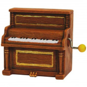 Gold & Brown Musical Hand Crank with Antique Piano Figurine Design