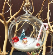 6 Pcs Mini 7.6cm Hanging Ornament Tea Light Holder / Terrarium by WGV
