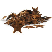 Package of 100 Rusted Tin Dimensional Miniature Barn Stars with Hole and Hollow Backs