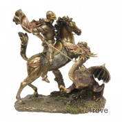 Cold Cast Bronze St George the Dragon Slayer Statue Figurine
