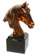 HomeView Design Horse Head Sculpture in Copper Electroplate on Black Square Base