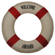 Nautical Welcome Aboard Cloth Life Ring Red 30cm , Decoration Only