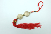 Red Feng Shui 2 Money Sign Coin Tassel for Good Wealth