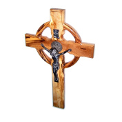 Celtic And Saint Benedict Holy Land Handmade Wall Wood Cross Crucifix Silver Plated - 25cm