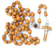 Amazing Olive Wood Rosary Beads Necklace From Jerusalem Holyland Cross Crucifix