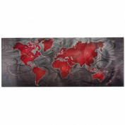 Travel Artwork - Map Art 'Red/Pewter Land & Sea' - 120cm x 48cm . - Sophisticated Contemporary Wall Art. World Map Art Prints