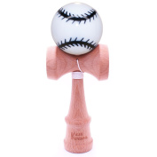 White & Black Baseball Kendama And Extra String