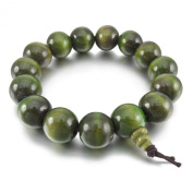 Men,Women's 15mm Wood Bracelet Link Wrist Tibetan Buddhist Green Sandalwood Beads Prayer Mala Chinese knot Elastic