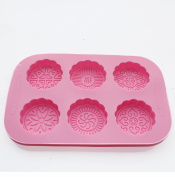 X-Haibei 6-cavity Round Mooncake Chocolate Muffin Soap Cookies Silicone Mould New
