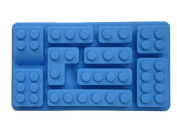 High quality MULTI SHAPE brick silicone kitchen mould, blue. Easily create Super Fun treats from chocolate, candy, ice, juice. Mould candle, soap, crayon and more for birthday or everyday joy for Lego, Lego Duplo, Mega Bloks fans.