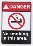"""NMC DGA52RB ANSI Sign, Legend """"DANGER - No smoking in this area"""" with Graphic, 25cm Length x 36cm Height, Rigid Plastic, Black/Red on White"""