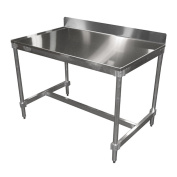 PVIFS AIFT303448-STBS Stainless Steel Top I-Frame Work Table with 15cm Back Splash, 120cm Length x 80cm Width x 90cm Height