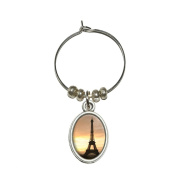 Paris - Eiffel Tower at Sunset Wine Glass Oval Charm Drink Marker