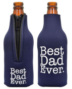 Father's Day Gift Beer Bottle Coolie Best Dad Ever 2 Pack Bottle Drink Coolers Coolies Navy