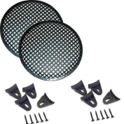 1 Pair 17cm INCH WAFFLE SPEAKER SUB WOOFER METAL GRILLS WITH CLIPS AND SCREWS DJ-CAR-HOME