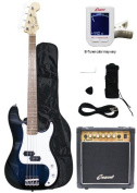 Crescent Electric Bass Guitar Starter Kit - Transparent Blue Colour