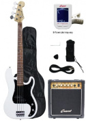 Crescent Electric Bass Guitar Starter Kit - White Colour