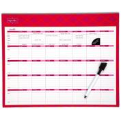 Mead Organizher Write 'n Wipe Monthly Planning Calendar, 38cm x 30cm , Dry Erase, Coral