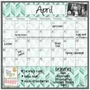 Dry Erase Magnet Calendar Teal Herringbone