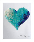 LOVE - Rare Cobalt Blues & Aqua Ombré Sea Glass Heart - Fine Art 11x14 Lithograph Poster Print. #24 from The Heart Collection - A Unique and Great Gift for Anniversary, Birthday, Valentines Day, Mothers Day, Fathers Day, Wedding, Kids & Best Chr ..
