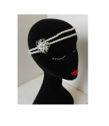 Ivory White Silver Pearl Headpiece Flapper 1920s Vtg Great Gatsby Headband O56 *EXCLUSIVELY SOLD BY STARCROSSED BEAUTY*
