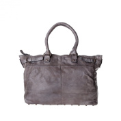 Washed leather bag garment-dyed for women with studs DUDU Grey Stone