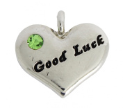 Silver Plated Good Luck Heart Charm with Green Rhinestone