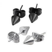 JOVIVI Men Women Stainless Steel Spike Punk Earring Jewellery, Silvery and Black, 2pairs