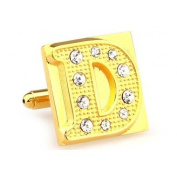 Alphabet Letter D Golden With Diamante Wedding Formal Business Cufflinks Gift Present With Gift Box