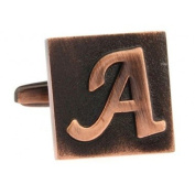 Brass Square 3-D Letter A Initial Wedding Formal Business Cufflinks Gift Present With Gift Box
