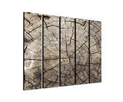 Tree Trunk Jahresringe Time 5 x 30 x 120 CM XXL extra Large 5-Piece Picture on Canvas and Stretcher Frame, Ready to Hang-Our Images on Canvas captivate with their unusual formats and extremely detailed print from up to 100 Mega Pixel High Resolution ph ..