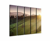 Bergregion Carpathian 5 x 30 x 120 CM XXL extra Large 5-Piece Picture on Canvas and Stretcher Frame, Ready to Hang-Our Images on Canvas captivate with their unusual formats and extremely detailed print from up to 100 Mega Pixel High Resolution photos.