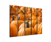 Halloween Pumpkin 5 x 30 x 120 CM XXL extra Large 5-Piece Picture on Canvas and Stretcher Frame, Ready to Hang-Our Images on Canvas captivate with their unusual formats and extremely detailed print from up to 100 Mega Pixel High Resolution photos.
