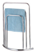 CHROME 3 TIER 3 BAR BOW FRONTED CURVED FREE STANDING TOWEL RAIL STAND