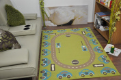 LARGE KIDS LIME FUNKY RETRO MODERN CHILDREN PLAY CAR CIRCUIT DESIGN AREA RUG SOFT MATS CARPET 2 Sizes RUGS