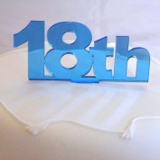18th Birthday Cake Topper - Mirrored Blue