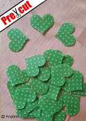 PRE-CUT GREEN POLKA DOT HEARTS EDIBLE RICE / WAFER PAPER CUP CAKE TOPPERS PARTY DECORATION