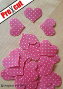 PRE-CUT PINK POLKA DOT HEARTS EDIBLE RICE / WAFER PAPER CUP CAKE TOPPERS PARTY DECORATION