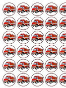 30 Fire Engine Premium Rice Paper Cake Toppers