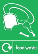 Recycling bin sticker 20cm x 30cm Food Waste - Self adhesive vinyl