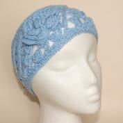 Ladies Sky Blue Knitted Wide Winter Headband with Crochet Flower
