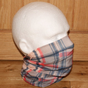 Multifunctional Headwear Beige Red Blue Cheque Tube Snood Scarf