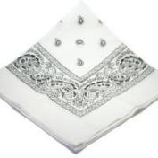 Extra LARGE 70cm WHITE cotton bandana scarf SQUARE WHITE PAISLEY
