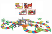 Children Kids Fun Car Flexible Variable Track Set 257 Pcs LED Light Battery Operated Racing Game Set