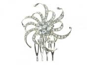 Ladies Bridal Bridesmaid Black Tie 2cm Silver Colour Side Comb Flower Swirl