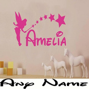 Wall Sticker, Tinkerbell, Personalised, Transfer, Any Name, - 3 sizes, Kids, Bedroom -SMALL -SIZE 30cm x 20cm -Pink