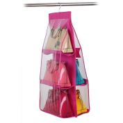 Chinatera 6 Pocket Large Clear Purse Handbag Hanging Storage Organiser Closet