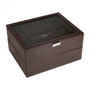 STACKERS - Men's Set of 2 Executive Brown 30pc Super-Size Watch Box STACKER with Brown Velvet Finish Lining